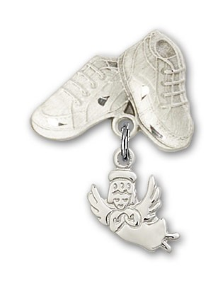 Baby Pin with Guardian Angel Charm and Baby Boots Pin - Silver tone