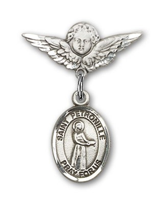 Pin Badge with St. Petronille Charm and Angel with Smaller Wings Badge Pin - Silver tone
