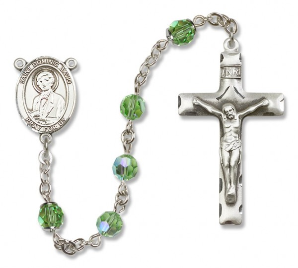 St. Dominic Savio Sterling Silver Heirloom Rosary Squared Crucifix - Peridot