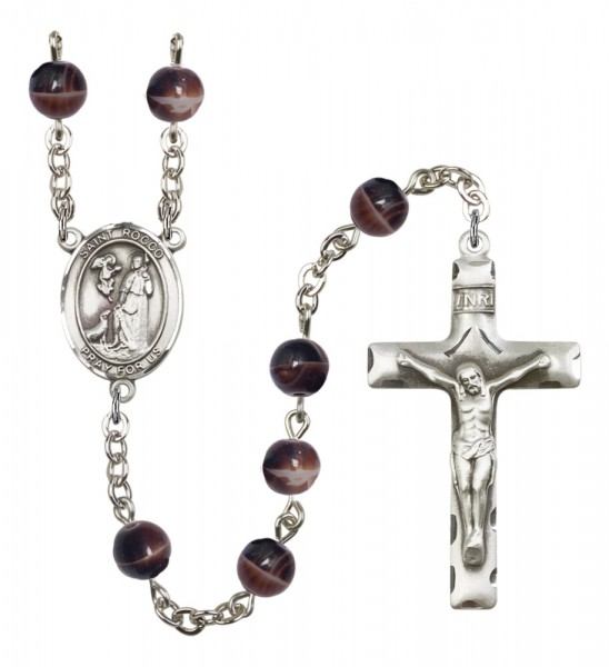 Men's St. Rocco Silver Plated Rosary - Brown