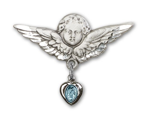 Baby Pin with Blue Miraculous Charm and Angel with Larger Wings Badge Pin - Silver | Blue