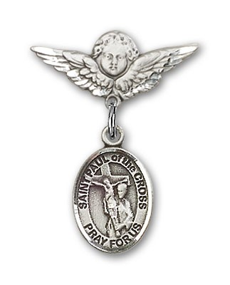Pin Badge with St. Paul of the Cross Charm and Angel with Smaller Wings Badge Pin - Silver tone