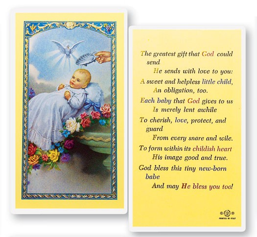 Baby's Baptismal Laminated Prayer Cards 25 Pack - Full Color