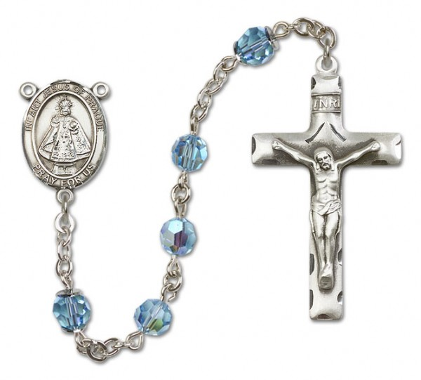 Infant of Prague Sterling Silver Heirloom Rosary Squared Crucifix - Aqua