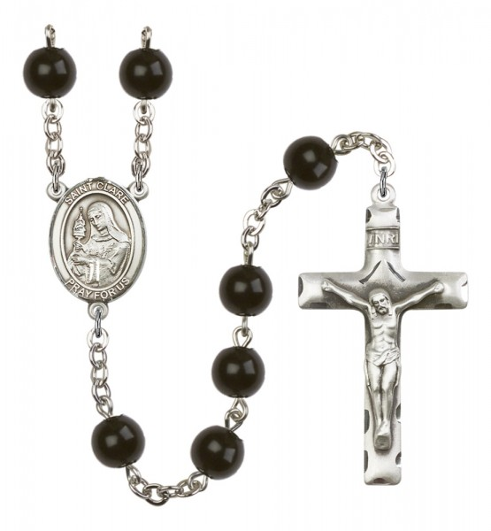 Men's St. Clare of Assisi Silver Plated Rosary - Black