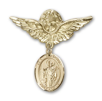 Pin Badge with St. Wolfgang Charm and Angel with Larger Wings Badge Pin - 14K Solid Gold
