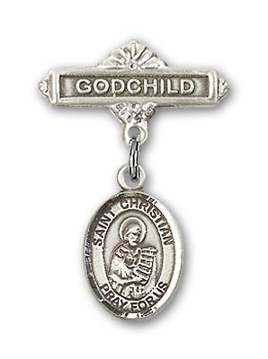 Pin Badge with St. Christian Demosthenes Charm and Godchild Badge Pin - Silver tone
