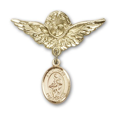 Pin Badge with St. Jane of Valois Charm and Angel with Larger Wings Badge Pin - 14K Solid Gold