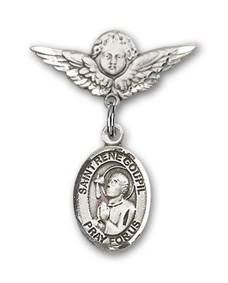Pin Badge with St. Rene Goupil Charm and Angel with Smaller Wings Badge Pin - Silver tone