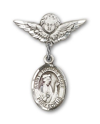 Pin Badge with St. Thomas More Charm and Angel with Smaller Wings Badge Pin - Silver tone