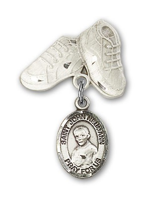 Pin Badge with St. John Neumann Charm and Baby Boots Pin - Silver tone