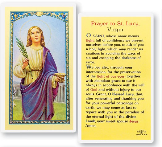 Prayer To St. Lucy Laminated Prayer Cards 25 Pack - Full Color