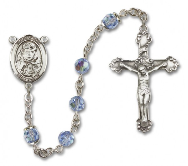 St. Sarah Rosary Heirloom Fancy Crucifix - Light Sapphire