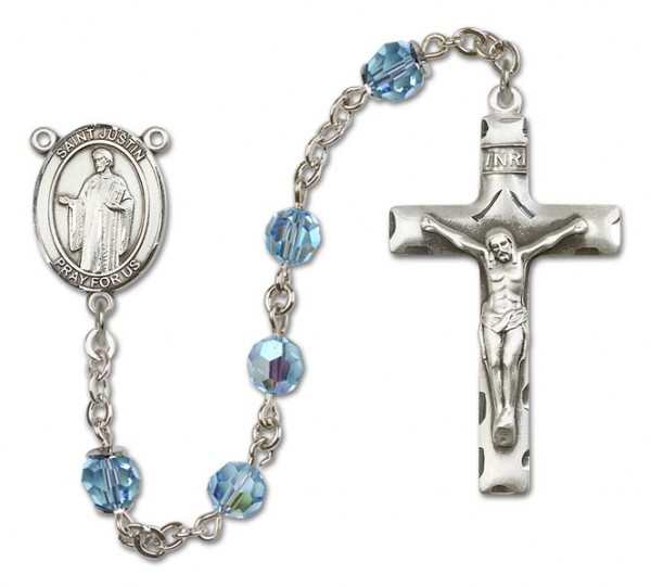 St. Justin Sterling Silver Heirloom Rosary Squared Crucifix - Aqua