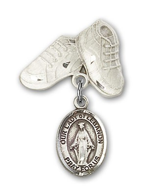 Baby Badge with Our Lady of Lebanon Charm and Baby Boots Pin - Silver tone