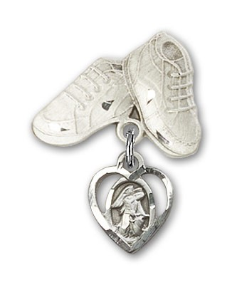 Baby Badge with Guardian Angel Charm and Baby Boots Pin - Silver tone