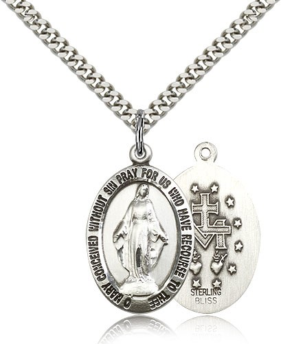 Men's Oval Shaped Miraculous Medal - Sterling Silver