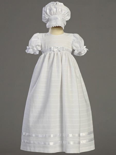 Daphne Embroidered Cotton Daylength Baptism Dress - White