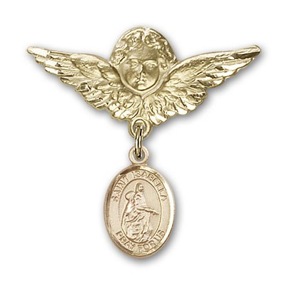 Pin Badge with St. Isabella of Portugal Charm and Angel with Larger Wings Badge Pin - 14K Solid Gold