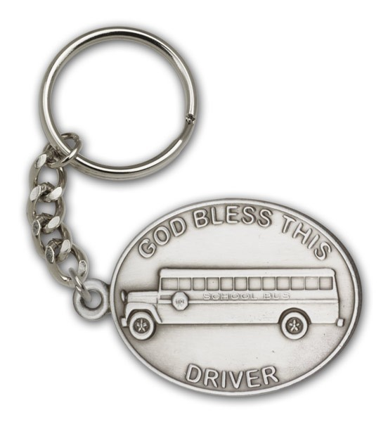 God Bless This Bus Driver Keychain - Antique Silver