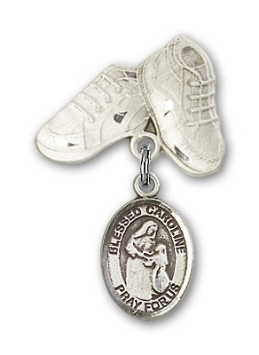 Pin Badge with Blessed Caroline Gerhardinger Charm and Baby Boots Pin - Silver tone