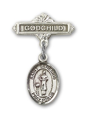 Pin Badge with St. Genesius of Rome Charm and Godchild Badge Pin - Silver tone