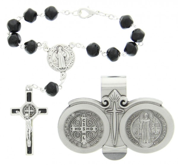 St. Benedict Matching Auto Rosary and Visor Clip Set, Pewter, 7mm beads - Black | Silver
