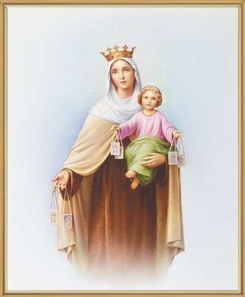 Our Lady of Mt. Carmel Gold Framed Print - Full Color