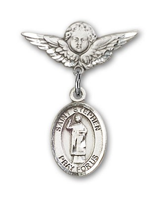Pin Badge with St. Stephen the Martyr Charm and Angel with Smaller Wings Badge Pin - Silver tone