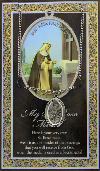 St. Rose of Lima Medal in Pewter with Bi-Fold Prayer Card - Silver tone