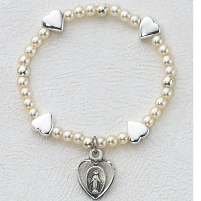 Baby Stretch Bracelet with Silver Hearts and Pearls - Sterling Silver - Pearl White
