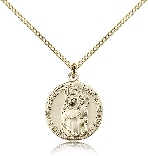 Women's Our Lady of Loretto Pray For Us Who Fly Medal - 14KT Gold Filled