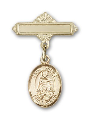 Pin Badge with St. Daniel Charm and Polished Engravable Badge Pin - Gold Tone