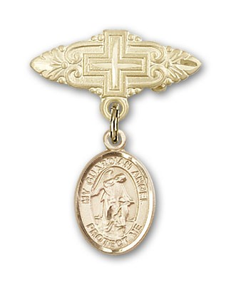Pin Badge with Guardian Angel Charm and Badge Pin with Cross - 14K Solid Gold