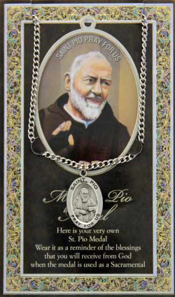St. Padre Pio Medal in Pewter with Bi-Fold Prayer Card - Silver tone