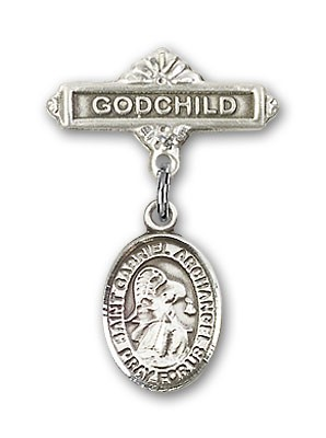 Pin Badge with St. Gabriel the Archangel Charm and Godchild Badge Pin - Silver tone