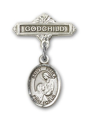 Pin Badge with St. Paula Charm and Godchild Badge Pin - Silver tone