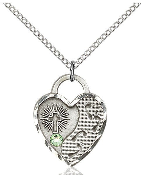 Heart Shaped Footprints Pendant with Birthstone Options - Peridot