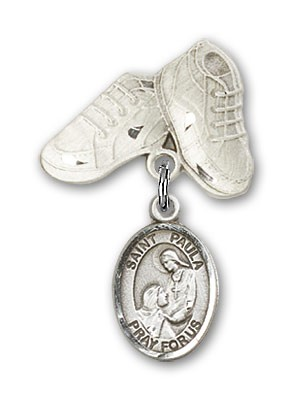 Pin Badge with St. Paula Charm and Baby Boots Pin - Silver tone