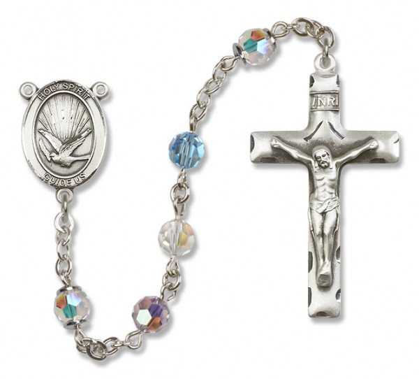 Holy Spirit Sterling Silver Heirloom Rosary Squared Crucifix - Multi-Color