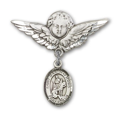 Pin Badge with St. Martin of Tours Charm and Angel with Larger Wings Badge Pin - Silver tone