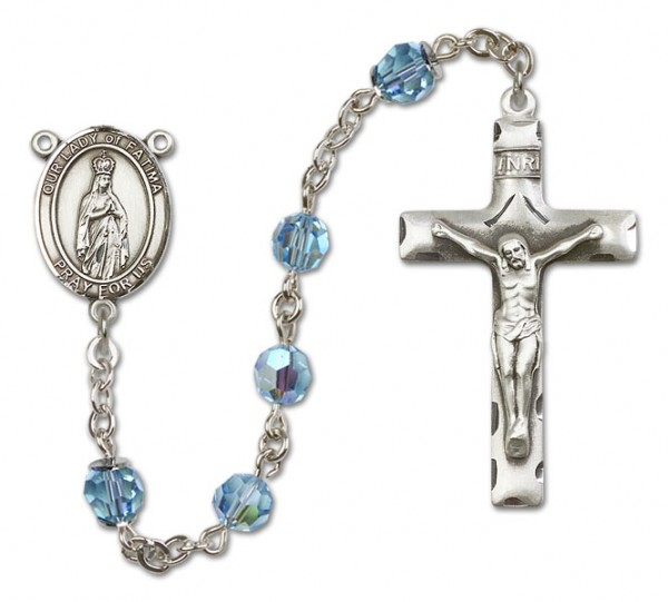 Our Lady of Fatima Sterling Silver Heirloom Rosary Squared Crucifix - Aqua