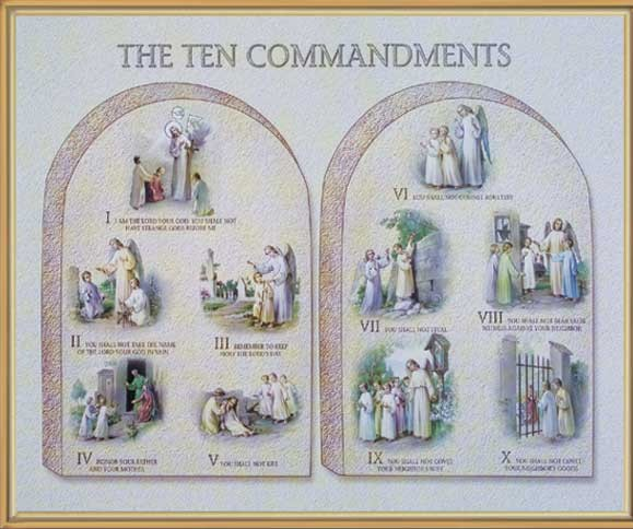 Ten Commandments Gold Framed Print - Full Color