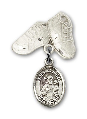Pin Badge with St. Joseph Charm and Baby Boots Pin - Silver tone