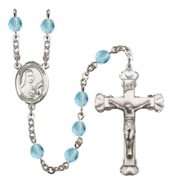 Women's St. Therese of Lisieux Birthstone Rosary - Aqua