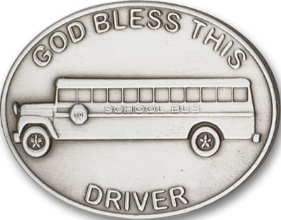 God Bless This Bus Driver Visor Clip - Antique Silver