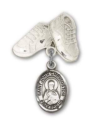 Pin Badge with St. John Chrysostom Charm and Baby Boots Pin - Silver tone