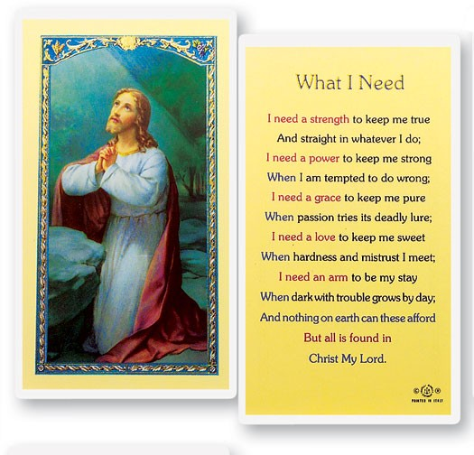 What I Need Christ In Garden Laminated Prayer Cards 25 Pack - Full Color