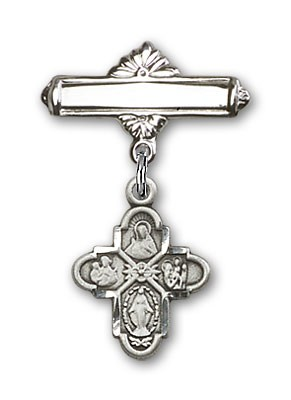 Pin Badge with 4-Way Charm and Polished Engravable Badge Pin - Silver tone
