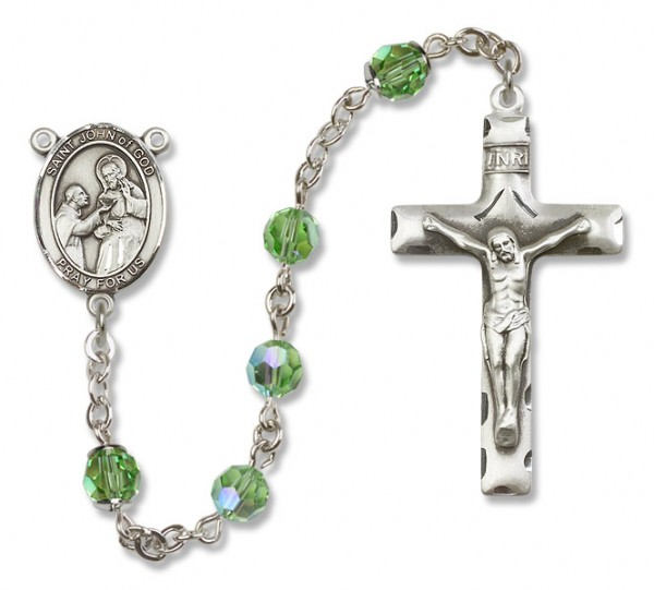 St. John of God Sterling Silver Heirloom Rosary Squared Crucifix - Peridot